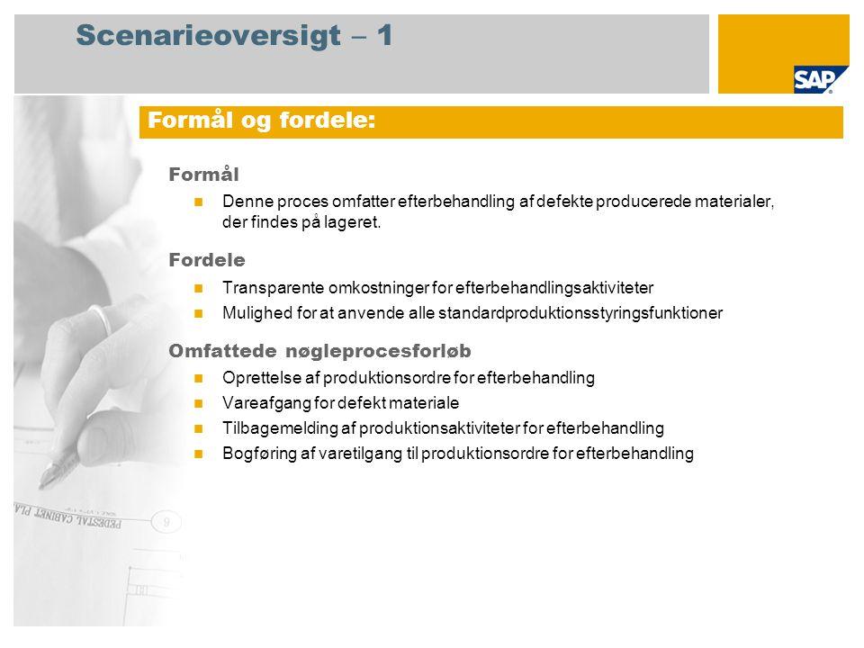 Scenarieoversigt – 1 Formål Denne proces omfatter efterbehandling af defekte producerede materialer, der findes på lageret.