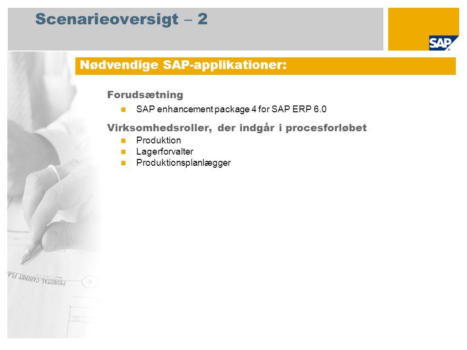 Scenarieoversigt – 2 Forudsætning SAP enhancement package 4 for SAP ERP 6.0 Virksomhedsroller, der indgår i procesforløbet Produktion Lagerforvalter Produktionsplanlægger Nødvendige SAP-applikationer: