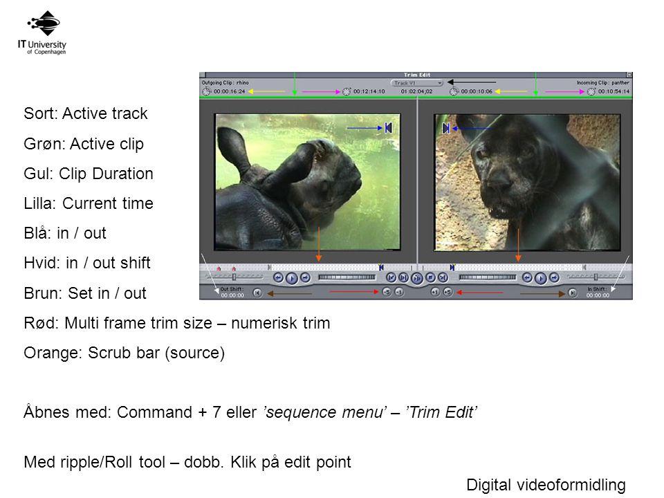Digital videoformidling Sort: Active track Grøn: Active clip Gul: Clip Duration Lilla: Current time Blå: in / out Hvid: in / out shift Brun: Set in / out Rød: Multi frame trim size – numerisk trim Orange: Scrub bar (source) Åbnes med: Command + 7 eller 'sequence menu' – 'Trim Edit' Med ripple/Roll tool – dobb.
