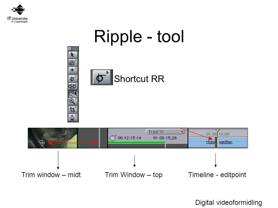 Digital videoformidling Ripple - tool Trim window – midtTrim Window – topTimeline - editpoint Shortcut RR