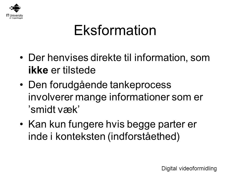 Digital videoformidling Eksformation Der henvises direkte til information, som ikke er tilstede Den forudgående tankeprocess involverer mange informationer som er 'smidt væk' Kan kun fungere hvis begge parter er inde i konteksten (indforståethed)