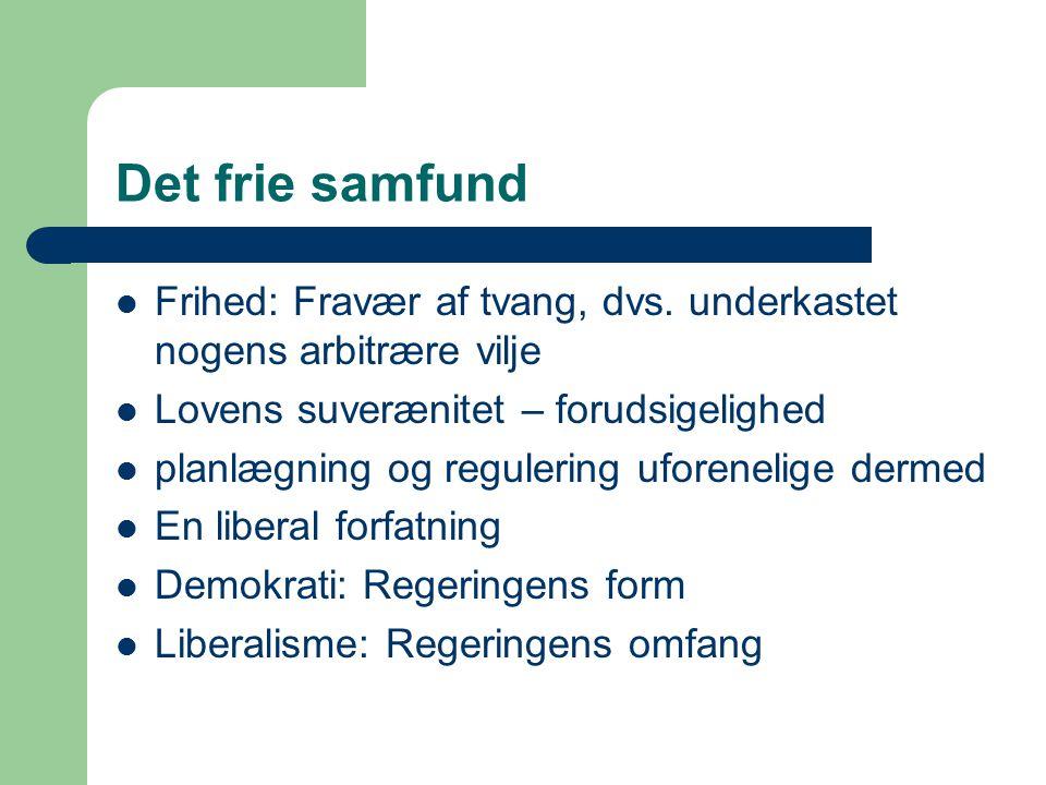 Det frie samfund Frihed: Fravær af tvang, dvs.