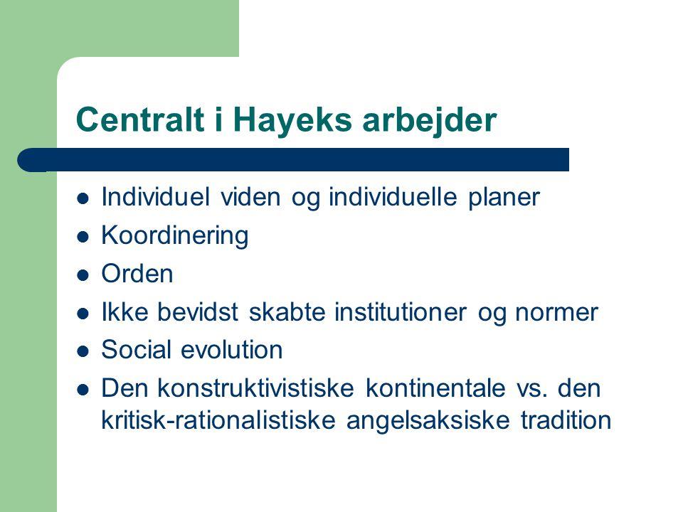 Centralt i Hayeks arbejder Individuel viden og individuelle planer Koordinering Orden Ikke bevidst skabte institutioner og normer Social evolution Den konstruktivistiske kontinentale vs.