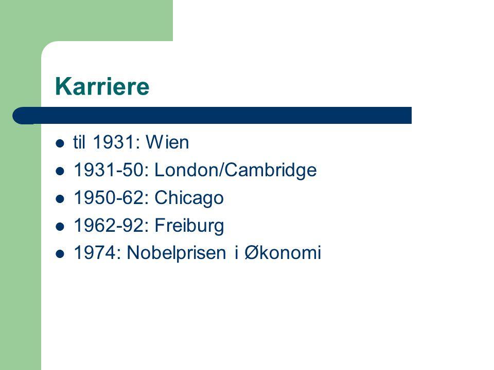 Karriere til 1931: Wien 1931-50: London/Cambridge 1950-62: Chicago 1962-92: Freiburg 1974: Nobelprisen i Økonomi