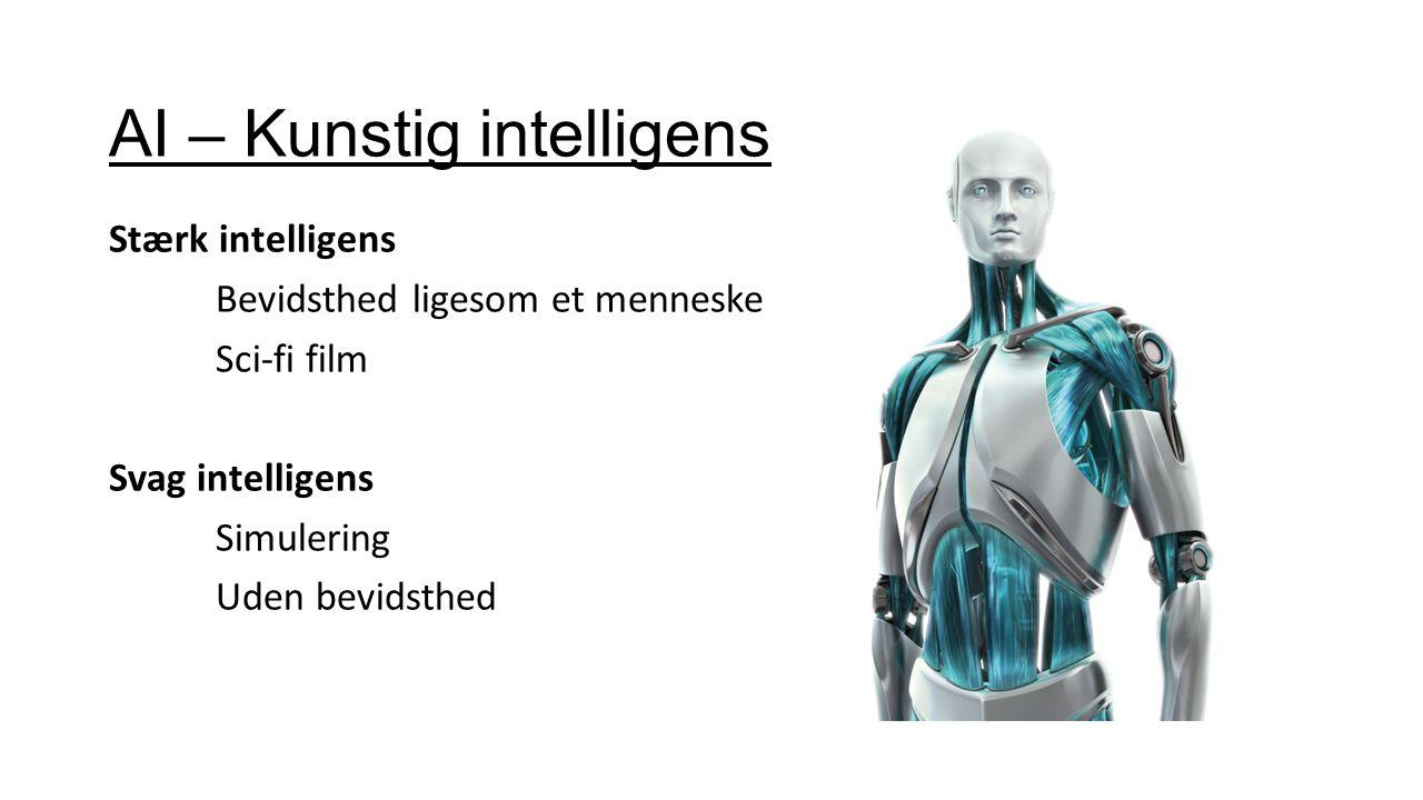 AI – Kunstig intelligens Stærk intelligens Bevidsthed ligesom et menneske Sci-fi film Svag intelligens Simulering Uden bevidsthed