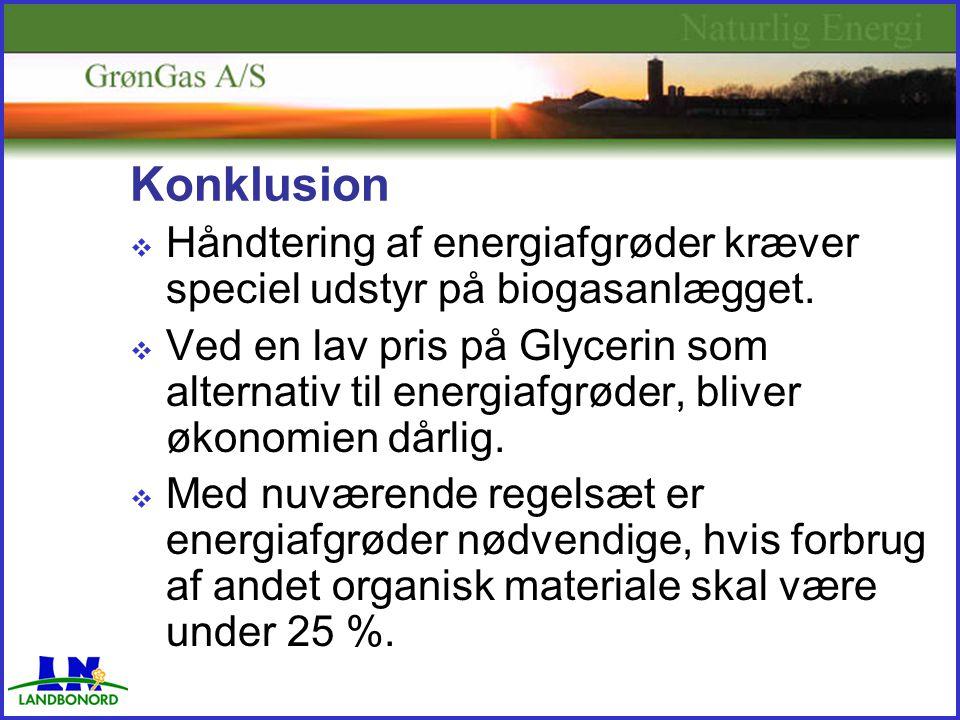 Konklusion  Håndtering af energiafgrøder kræver speciel udstyr på biogasanlægget.