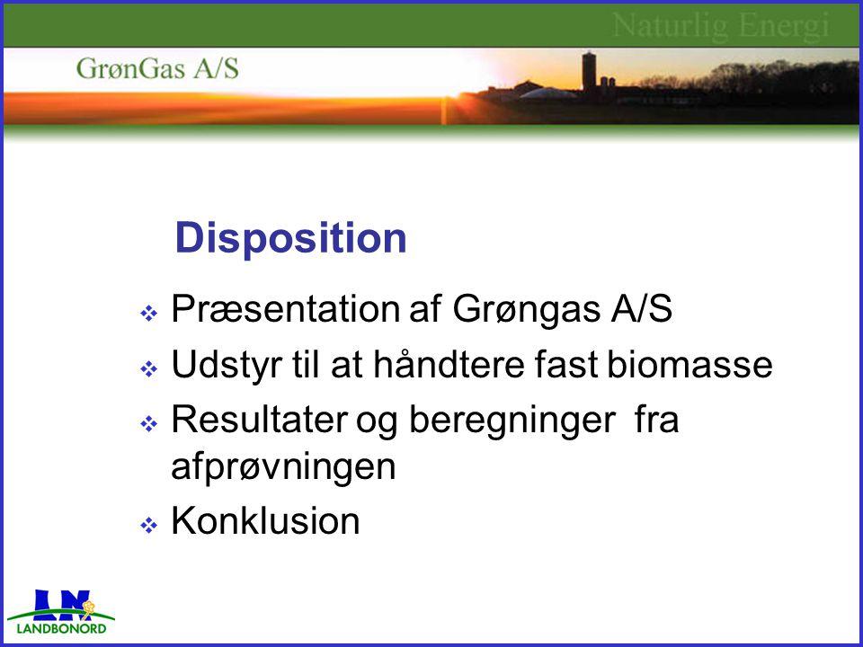 Disposition  Præsentation af Grøngas A/S  Udstyr til at håndtere fast biomasse  Resultater og beregninger fra afprøvningen  Konklusion