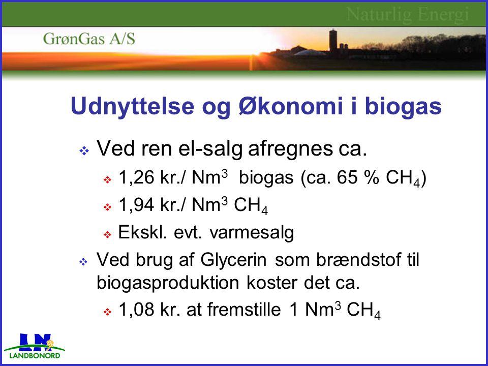 Udnyttelse og Økonomi i biogas  Ved ren el-salg afregnes ca.