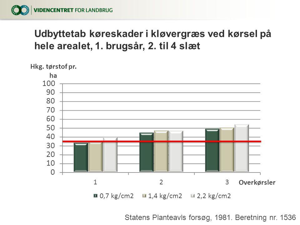 Udbyttetab køreskader i kløvergræs ved kørsel på hele arealet, 1.