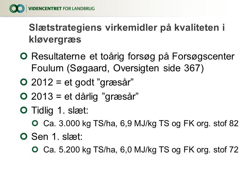 Resultaterne et toårig forsøg på Forsøgscenter Foulum (Søgaard, Oversigten side 367) 2012 = et godt græsår 2013 = et dårlig græsår Tidlig 1.