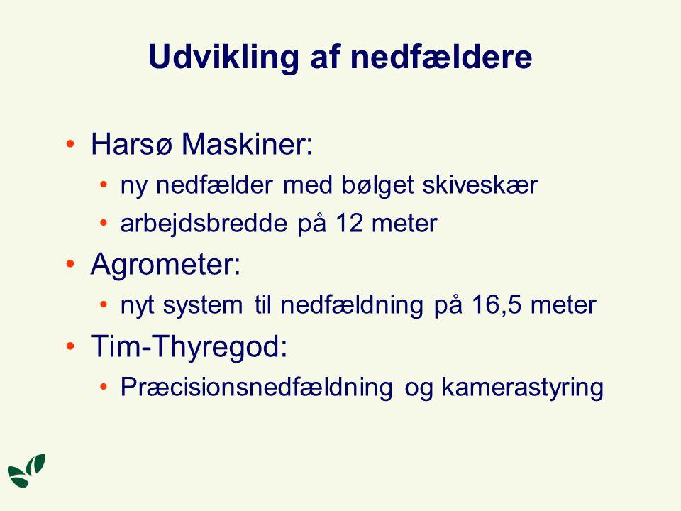 Udvikling af nedfældere Harsø Maskiner: ny nedfælder med bølget skiveskær arbejdsbredde på 12 meter Agrometer: nyt system til nedfældning på 16,5 meter Tim-Thyregod: Præcisionsnedfældning og kamerastyring