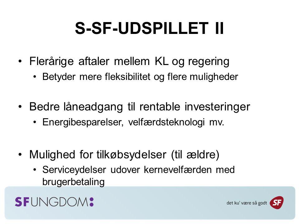 S-SF-UDSPILLET II Flerårige aftaler mellem KL og regering Betyder mere fleksibilitet og flere muligheder Bedre låneadgang til rentable investeringer Energibesparelser, velfærdsteknologi mv.