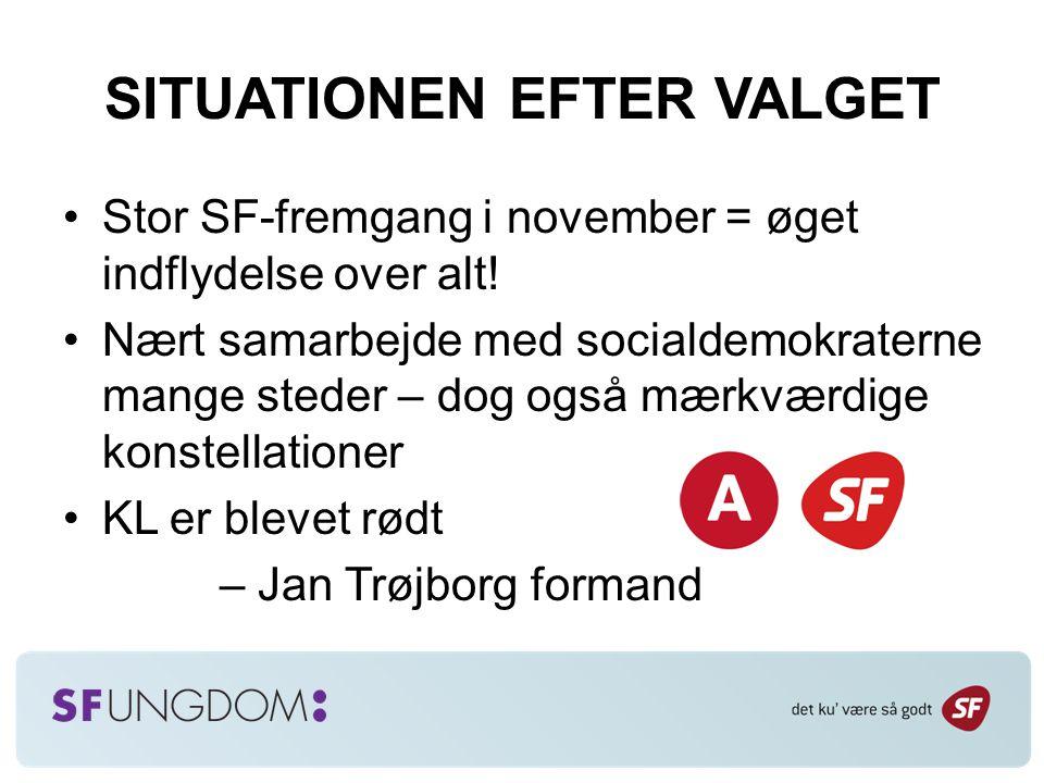SITUATIONEN EFTER VALGET Stor SF-fremgang i november = øget indflydelse over alt.
