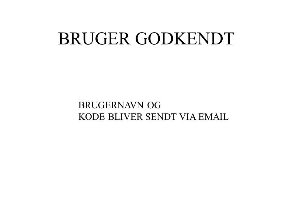 BRUGER GODKENDT BRUGERNAVN OG KODE BLIVER SENDT VIA EMAIL