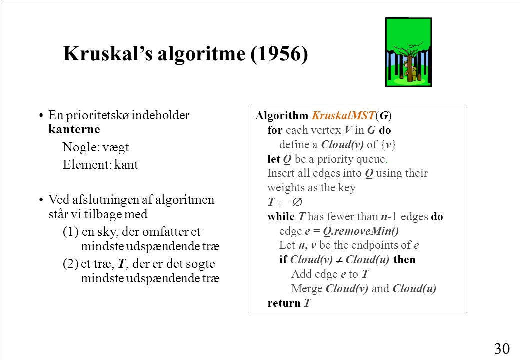 30 Kruskal's algoritme (1956) En prioritetskø indeholder kanterne Nøgle: vægt Element: kant Ved afslutningen af algoritmen står vi tilbage med (1) en sky, der omfatter et mindste udspændende træ (2)et træ, T, der er det søgte mindste udspændende træ Algorithm KruskalMST(G) for each vertex V in G do define a Cloud(v) of {v} let Q be a priority queue.