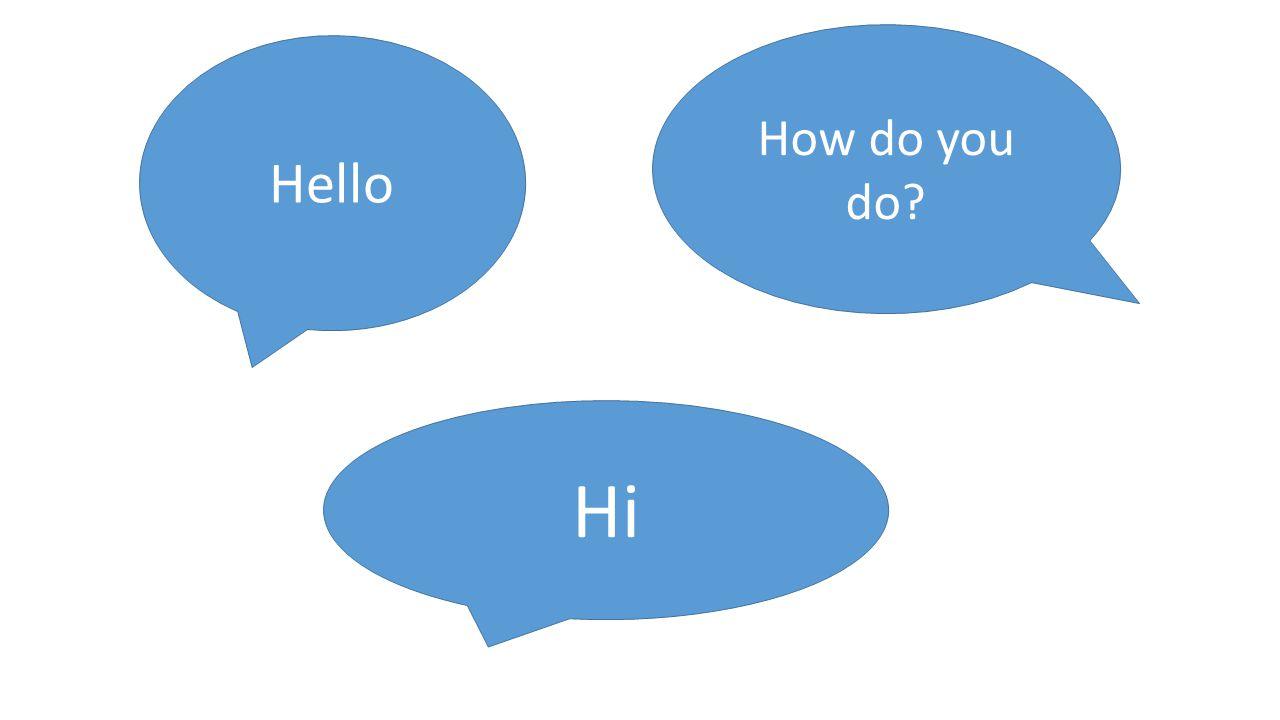 Hello How do you do Hi
