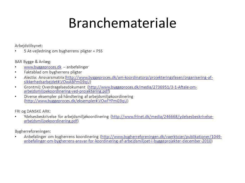 Branchemateriale Arbejdstilsynet: 5 At-vejledning om bygherrens pligter + PSS BAR Bygge & Anlæg: www.byggeproces.dk – anbefalinger www.byggeproces.dk Faktablad om bygherrens pligter Alectia: Ansvarsmatrix (http://www.byggeproces.dk/am-koordinatorp/projekteringsfasen/organisering-af- sikkerhedsarbejdet#.VOwABPmG9qU)http://www.byggeproces.dk/am-koordinatorp/projekteringsfasen/organisering-af- sikkerhedsarbejdet#.VOwABPmG9qU Grontmij: Overdragelsesdokument (http://www.byggeproces.dk/media/2736951/3-1-Aftale-om- arbejdsmiljoekoordinering-ved-projektering.pdf)http://www.byggeproces.dk/media/2736951/3-1-Aftale-om- arbejdsmiljoekoordinering-ved-projektering.pdf Diverse eksempler på håndtering af arbejdsmiljøkoordinering (http://www.byggeproces.dk/eksempler#.VOwFYPmG9qU)http://www.byggeproces.dk/eksempler#.VOwFYPmG9qU FRI og DANSKE ARK: Ydelsesbeskrivelse for arbejdsmiljøkoordinering (http://www.frinet.dk/media/246668/ydelsesbeskrivelse- arbejdsmiljoekoordinering.pdf)http://www.frinet.dk/media/246668/ydelsesbeskrivelse- arbejdsmiljoekoordinering.pdf Bygherreforeningen: Anbefalinger om bygherrens koordinering (http://www.bygherreforeningen.dk/vaerktojer/publikationer/1049- anbefalinger-om-bygherrens-ansvar-for-koordinering-af-arbejdsmiljoet-i-byggeprojekter-december-2010)http://www.bygherreforeningen.dk/vaerktojer/publikationer/1049- anbefalinger-om-bygherrens-ansvar-for-koordinering-af-arbejdsmiljoet-i-byggeprojekter-december-2010