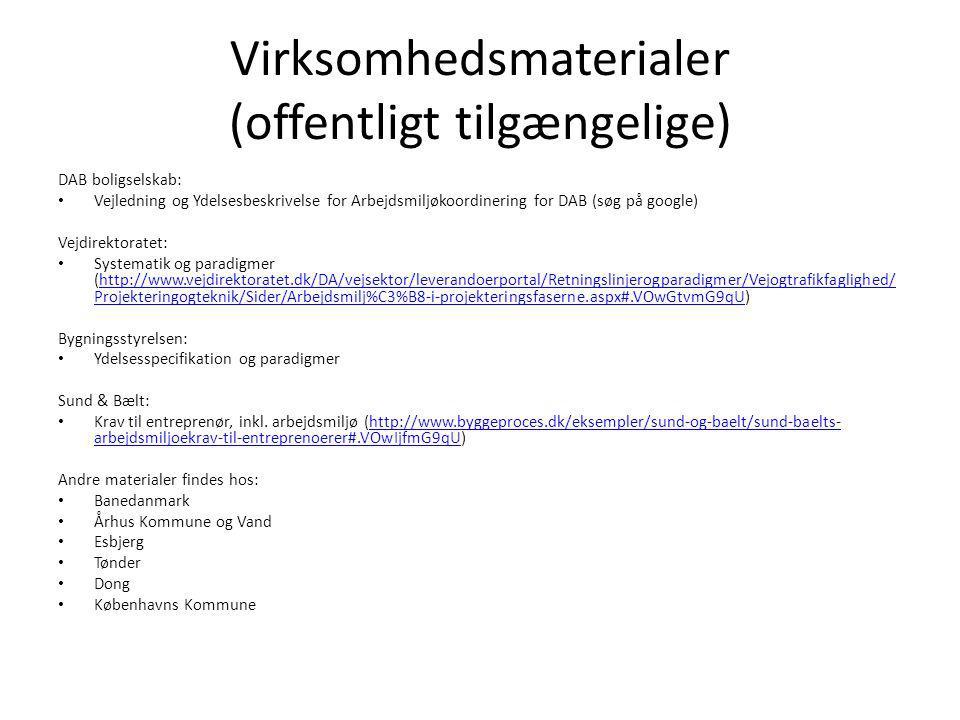 Virksomhedsmaterialer (offentligt tilgængelige) DAB boligselskab: Vejledning og Ydelsesbeskrivelse for Arbejdsmiljøkoordinering for DAB (søg på google) Vejdirektoratet: Systematik og paradigmer (http://www.vejdirektoratet.dk/DA/vejsektor/leverandoerportal/Retningslinjerogparadigmer/Vejogtrafikfaglighed/ Projekteringogteknik/Sider/Arbejdsmilj%C3%B8-i-projekteringsfaserne.aspx#.VOwGtvmG9qU)http://www.vejdirektoratet.dk/DA/vejsektor/leverandoerportal/Retningslinjerogparadigmer/Vejogtrafikfaglighed/ Projekteringogteknik/Sider/Arbejdsmilj%C3%B8-i-projekteringsfaserne.aspx#.VOwGtvmG9qU Bygningsstyrelsen: Ydelsesspecifikation og paradigmer Sund & Bælt: Krav til entreprenør, inkl.