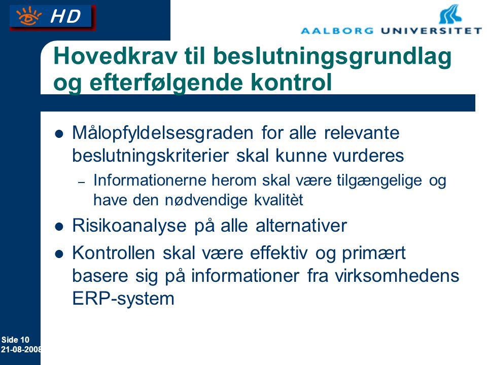 Side 10 21-08-2008 Hovedkrav til beslutningsgrundlag og efterfølgende kontrol Målopfyldelsesgraden for alle relevante beslutningskriterier skal kunne vurderes – Informationerne herom skal være tilgængelige og have den nødvendige kvalitèt Risikoanalyse på alle alternativer Kontrollen skal være effektiv og primært basere sig på informationer fra virksomhedens ERP-system
