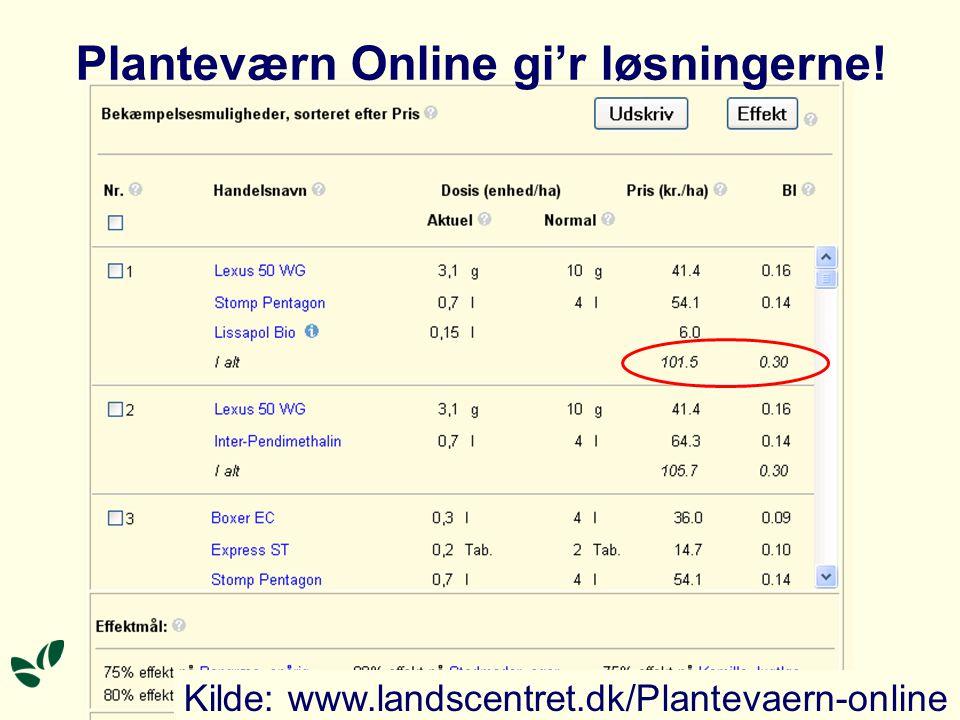 Planteværn Online gi'r løsningerne! Kilde: www.landscentret.dk/Plantevaern-online