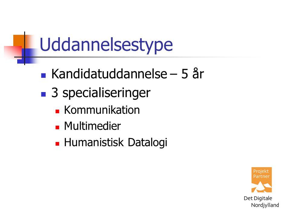 Uddannelsestype Kandidatuddannelse – 5 år 3 specialiseringer Kommunikation Multimedier Humanistisk Datalogi