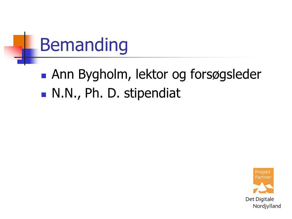 Bemanding Ann Bygholm, lektor og forsøgsleder N.N., Ph. D. stipendiat