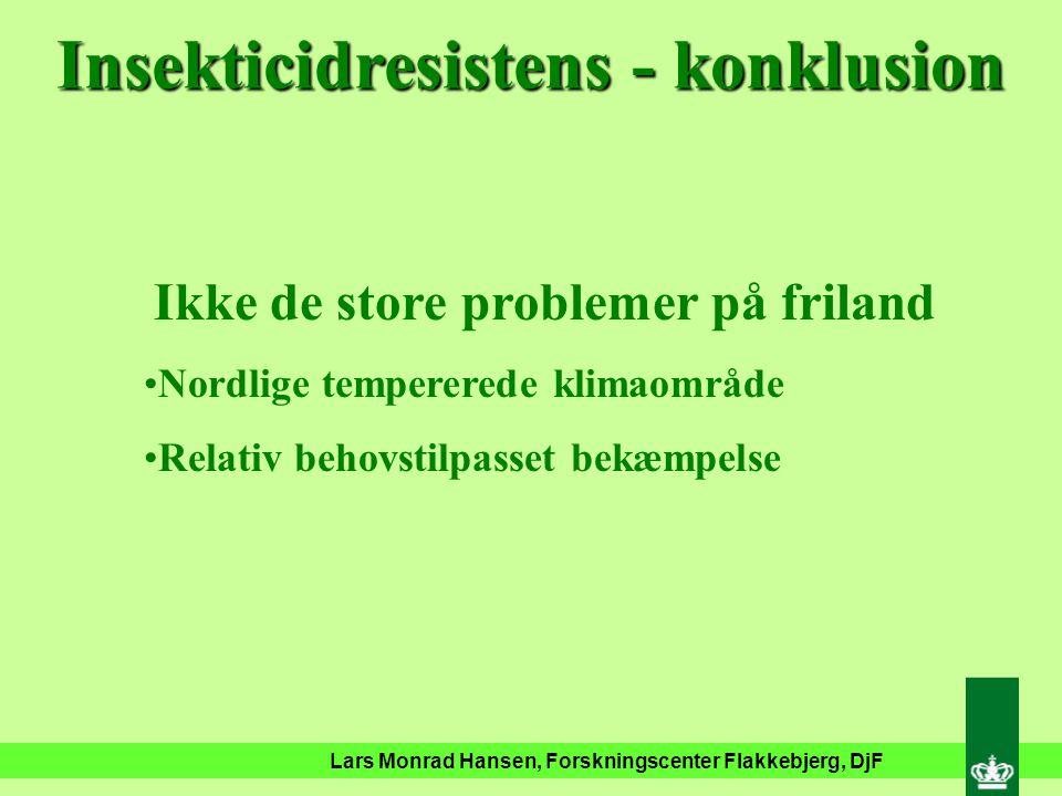 Lars Monrad Hansen, Forskningscenter Flakkebjerg, DjF Insekticidresistente glimmerbøsser Karate Sumi-Alpha Mavrik Dimethoat Fenitrotion