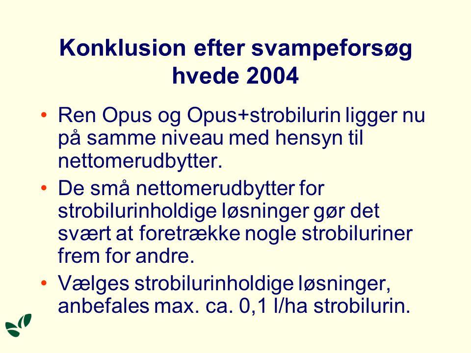 Konklusion efter svampeforsøg hvede 2004 Ren Opus og Opus+strobilurin ligger nu på samme niveau med hensyn til nettomerudbytter.