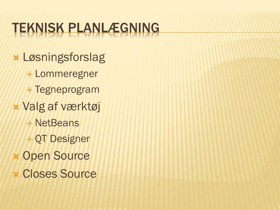  Løsningsforslag  Lommeregner  Tegneprogram  Valg af værktøj  NetBeans  QT Designer  Open Source  Closes Source