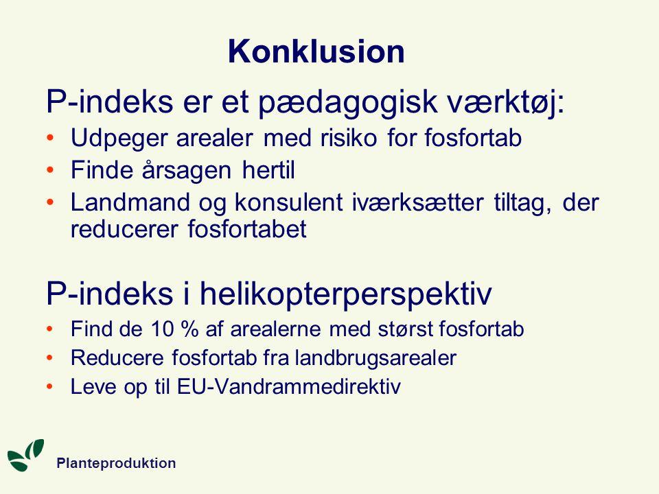 Planteproduktion Konklusion P-indeks er et pædagogisk værktøj: Udpeger arealer med risiko for fosfortab Finde årsagen hertil Landmand og konsulent iværksætter tiltag, der reducerer fosfortabet P-indeks i helikopterperspektiv Find de 10 % af arealerne med størst fosfortab Reducere fosfortab fra landbrugsarealer Leve op til EU-Vandrammedirektiv