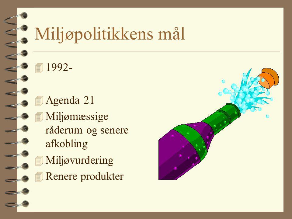 Miljøpolitikkens mål 4 1992- 4 Agenda 21 4 Miljømæssige råderum og senere afkobling 4 Miljøvurdering 4 Renere produkter