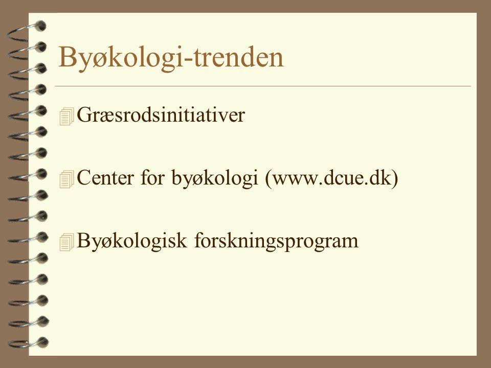 Byøkologi-trenden 4 Græsrodsinitiativer 4 Center for byøkologi (www.dcue.dk) 4 Byøkologisk forskningsprogram