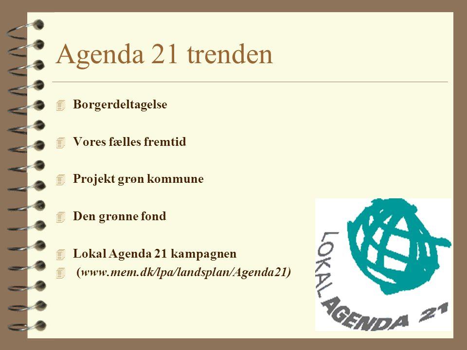 Agenda 21 trenden 4 Borgerdeltagelse 4 Vores fælles fremtid 4 Projekt grøn kommune 4 Den grønne fond 4 Lokal Agenda 21 kampagnen 4 (www.mem.dk/lpa/landsplan/Agenda21)