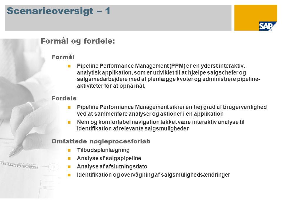 Scenarieoversigt – 1 Formål Pipeline Performance Management (PPM) er en yderst interaktiv, analytisk applikation, som er udviklet til at hjælpe salgschefer og salgsmedarbejdere med at planlægge kvoter og administrere pipeline- aktiviteter for at opnå mål.