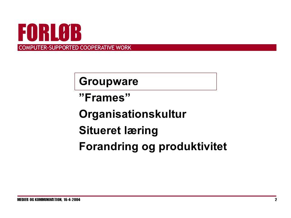 COMPUTER-SUPPORTED COOPERATIVE WORK MEDIER OG KOMMUNIKATION, 16-4-2004 2 FORLØB Groupware Frames Organisationskultur Situeret læring Forandring og produktivitet