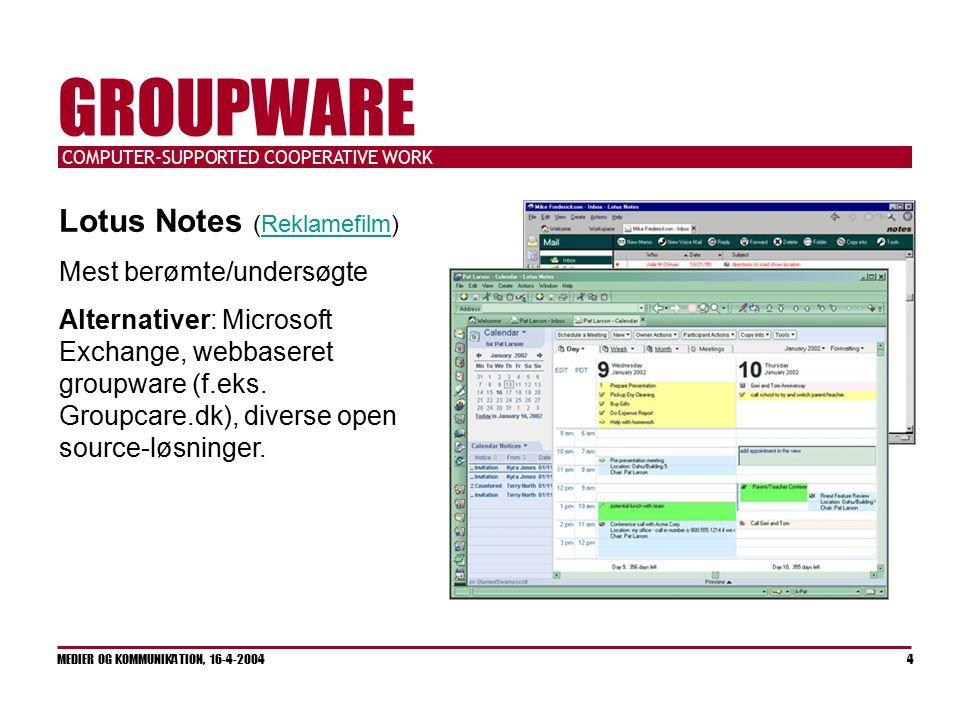 COMPUTER-SUPPORTED COOPERATIVE WORK MEDIER OG KOMMUNIKATION, 16-4-2004 4 GROUPWARE Lotus Notes (Reklamefilm)Reklamefilm Mest berømte/undersøgte Alternativer: Microsoft Exchange, webbaseret groupware (f.eks.