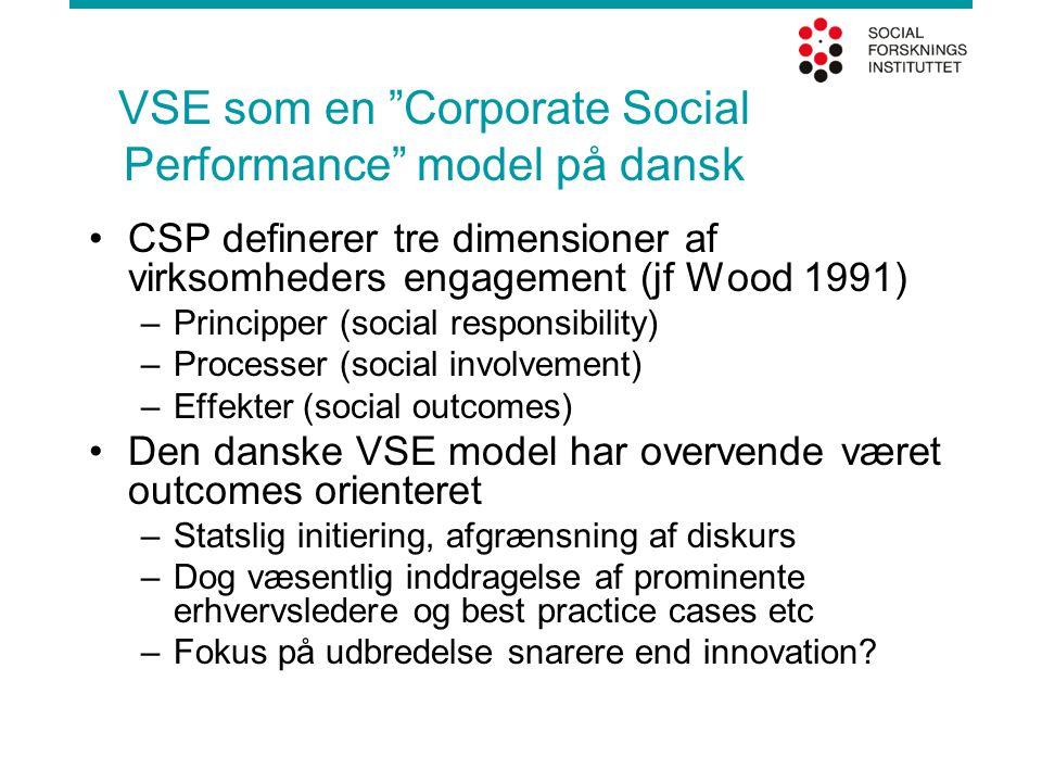 VSE som en Corporate Social Performance model på dansk CSP definerer tre dimensioner af virksomheders engagement (jf Wood 1991) –Principper (social responsibility) –Processer (social involvement) –Effekter (social outcomes) Den danske VSE model har overvende været outcomes orienteret –Statslig initiering, afgrænsning af diskurs –Dog væsentlig inddragelse af prominente erhvervsledere og best practice cases etc –Fokus på udbredelse snarere end innovation
