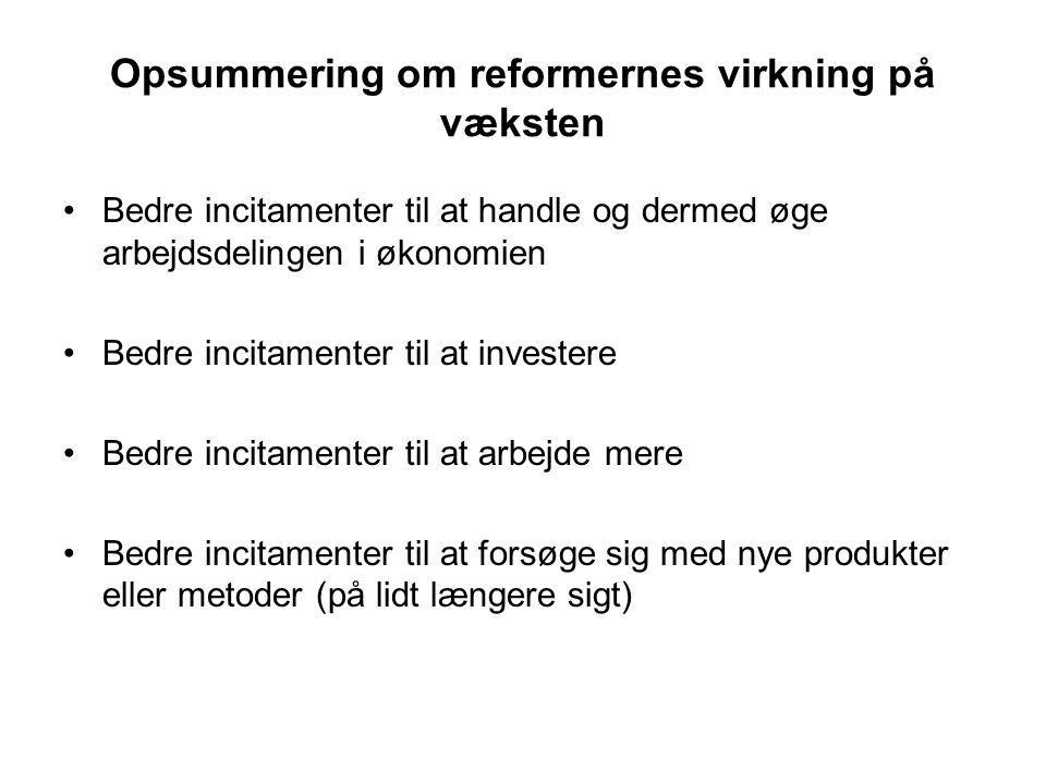 Opsummering om reformernes virkning på væksten Bedre incitamenter til at handle og dermed øge arbejdsdelingen i økonomien Bedre incitamenter til at investere Bedre incitamenter til at arbejde mere Bedre incitamenter til at forsøge sig med nye produkter eller metoder (på lidt længere sigt)