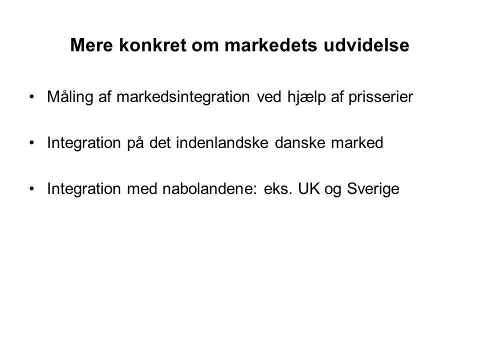 Mere konkret om markedets udvidelse Måling af markedsintegration ved hjælp af prisserier Integration på det indenlandske danske marked Integration med nabolandene: eks.