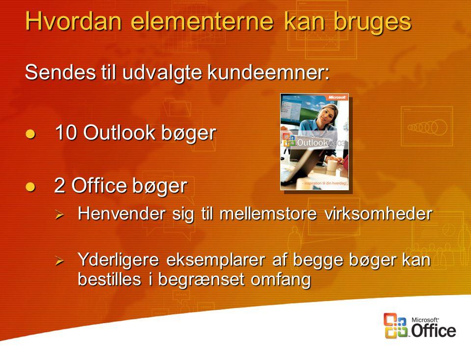 Sendes til udvalgte kundeemner: 10 Outlook bøger 10 Outlook bøger 2 Office bøger 2 Office bøger  Henvender sig til mellemstore virksomheder  Yderligere eksemplarer af begge bøger kan bestilles i begrænset omfang Hvordan elementerne kan bruges