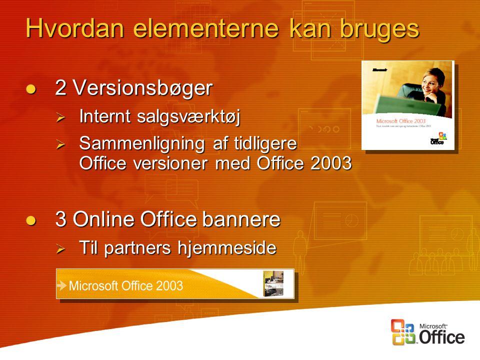 2 Versionsbøger 2 Versionsbøger  Internt salgsværktøj  Sammenligning af tidligere Office versioner med Office 2003 3 Online Office bannere 3 Online Office bannere  Til partners hjemmeside Hvordan elementerne kan bruges