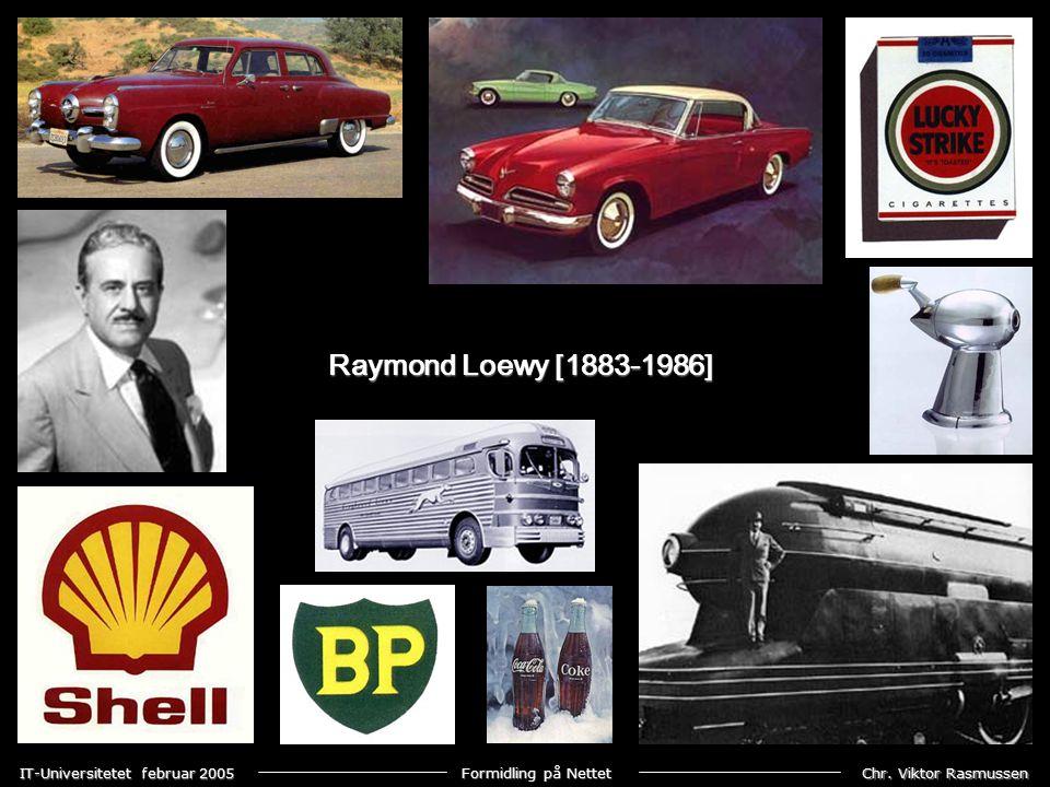 Chr. Viktor Rasmussen IT-Universitetet februar 2005 Formidling på Nettet Raymond Loewy [1883-1986]