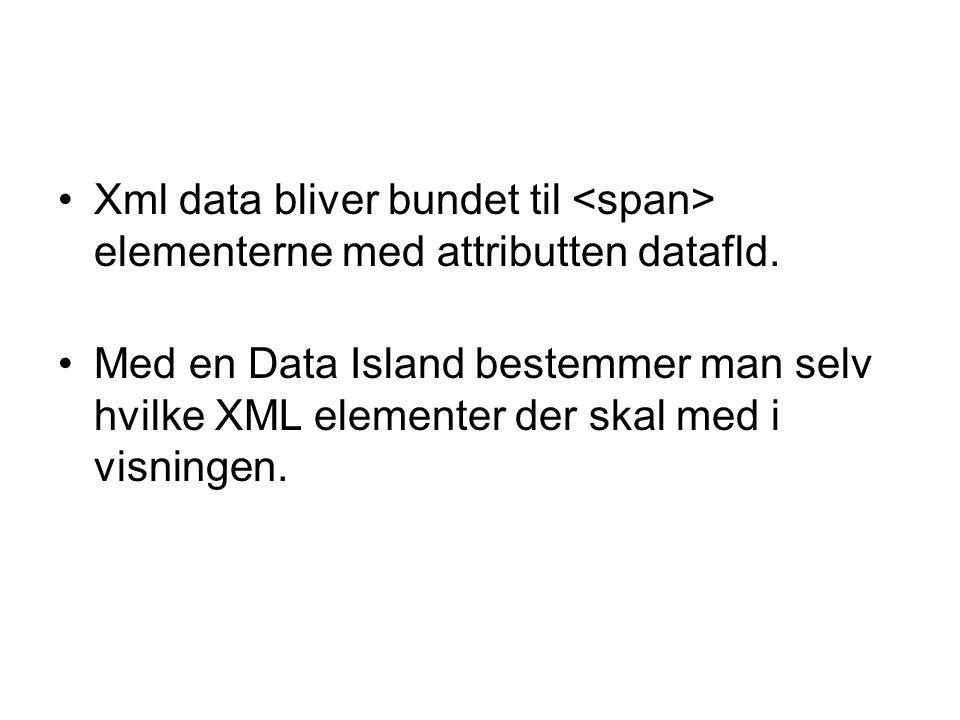 Xml data bliver bundet til elementerne med attributten datafld.