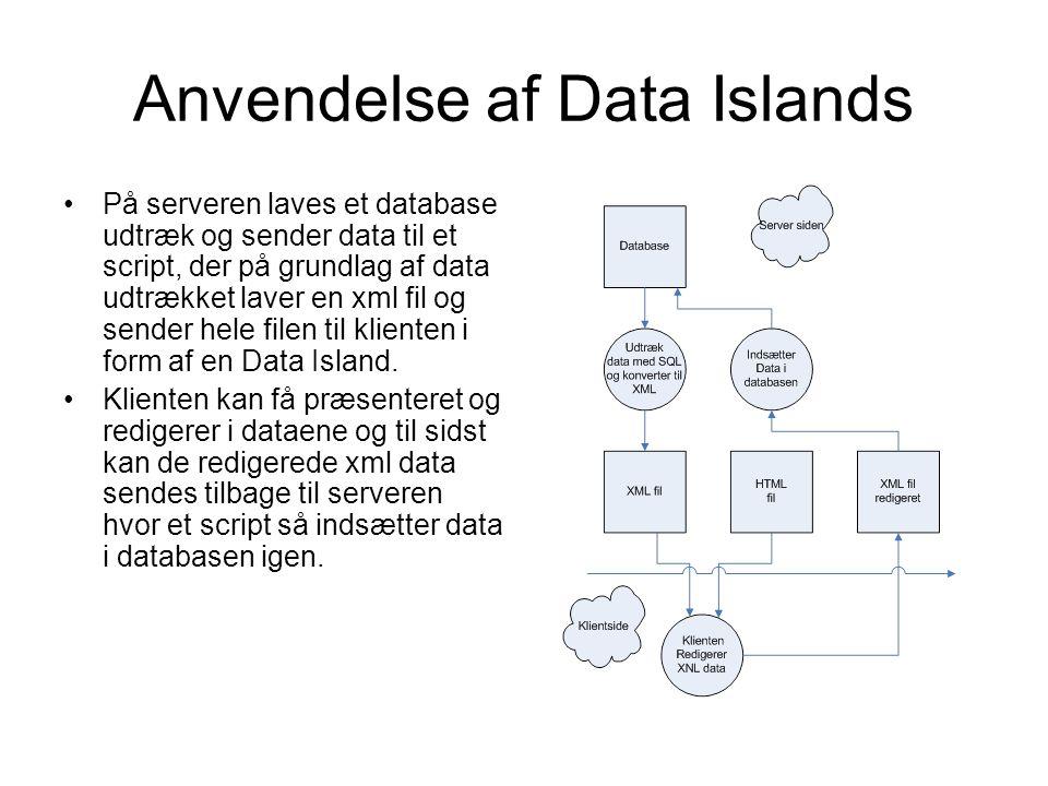 Anvendelse af Data Islands På serveren laves et database udtræk og sender data til et script, der på grundlag af data udtrækket laver en xml fil og sender hele filen til klienten i form af en Data Island.