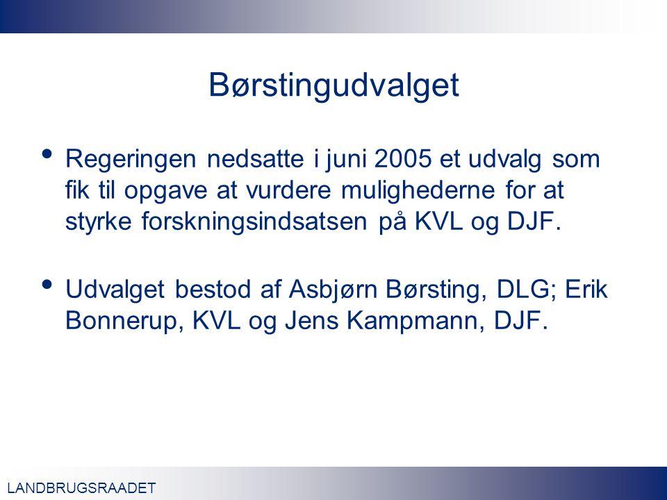 LANDBRUGSRAADET Børstingudvalget Regeringen nedsatte i juni 2005 et udvalg som fik til opgave at vurdere mulighederne for at styrke forskningsindsatsen på KVL og DJF.