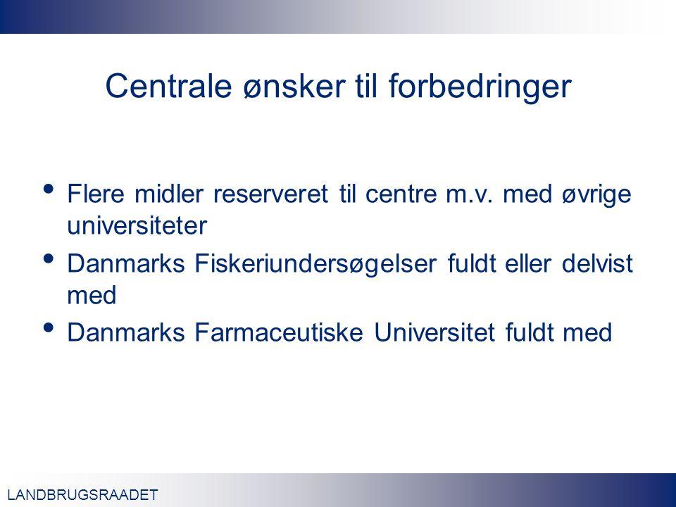 LANDBRUGSRAADET Centrale ønsker til forbedringer Flere midler reserveret til centre m.v.