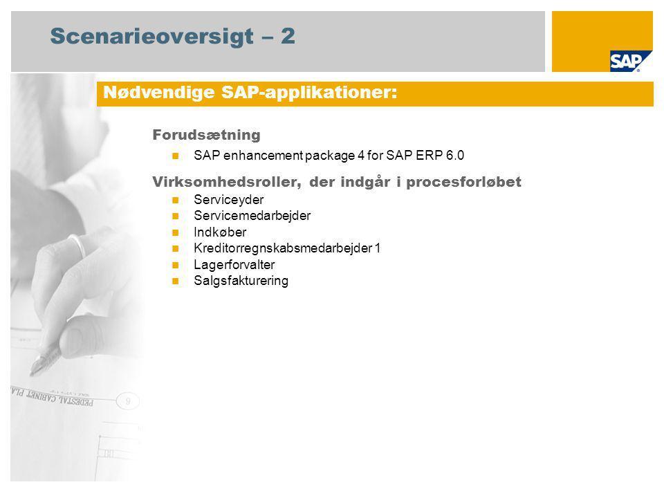 Scenarieoversigt – 2 Forudsætning SAP enhancement package 4 for SAP ERP 6.0 Virksomhedsroller, der indgår i procesforløbet Serviceyder Servicemedarbejder Indkøber Kreditorregnskabsmedarbejder 1 Lagerforvalter Salgsfakturering Nødvendige SAP-applikationer:
