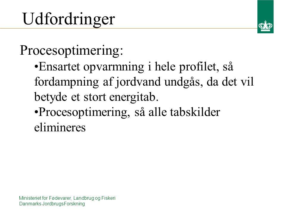 Ministeriet for Fødevarer, Landbrug og Fiskeri Danmarks JordbrugsForskning Udfordringer Procesoptimering: Ensartet opvarmning i hele profilet, så fordampning af jordvand undgås, da det vil betyde et stort energitab.
