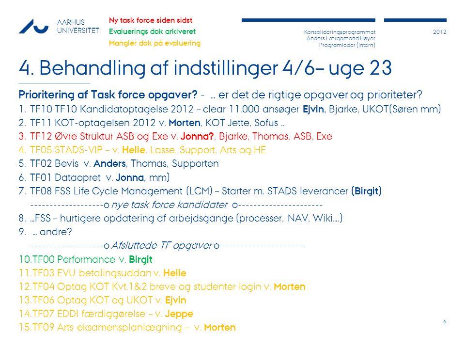 Konsolideringsprogrammet Anders Færgemand Høyer Programleder (Intern) 2012 AARHUS UNIVERSITET 4.