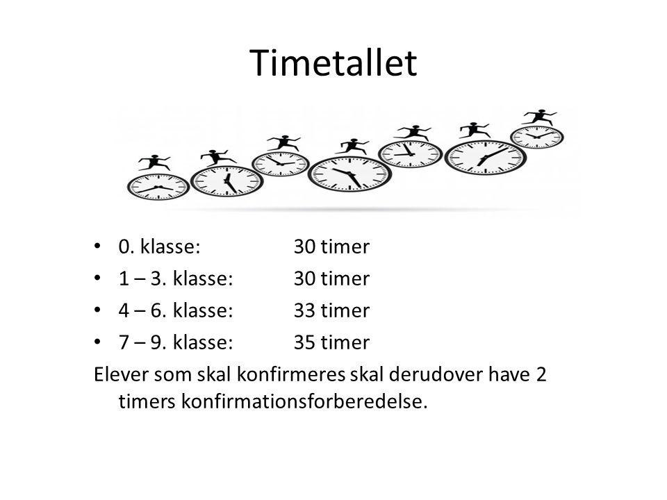 Timetallet 0. klasse: 30 timer 1 – 3. klasse: 30 timer 4 – 6.